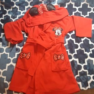 Sz4 girls disney mini mouse red tie up house coat